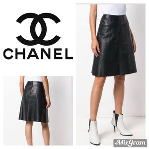 Chanel Lambskin Leather A-line Skirt